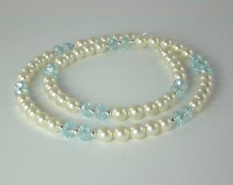 Swarovski Pearl and Crystal Necklace - Aquamarine Crystal and Cream Pearls - Princess Length