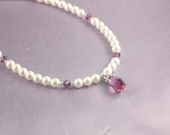 Swarovski Pearl and Crystal Necklace - White Pearls with Amethyst Crystals - Matinee Length