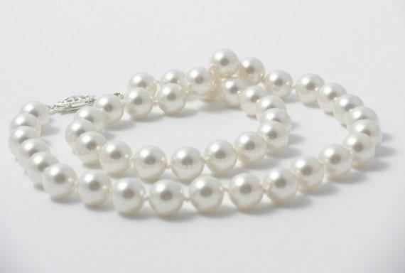 Swarovski Pearl Necklace - Medium White Hand Knotted Pearls - Princess Length