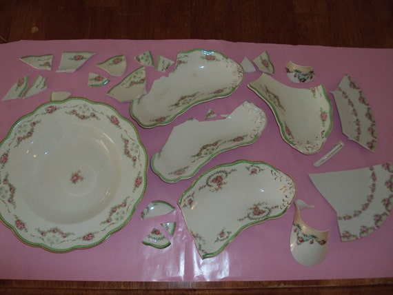 Shabby Chic China Tile Mosaics Broken Floral China For Craft Projects