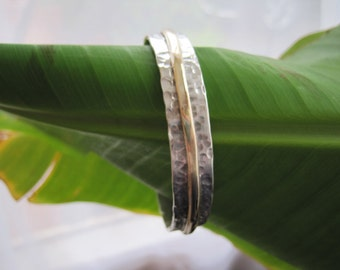 Sterling silver and gold bangle - made to order