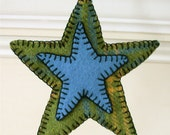 Christmas ornament, rustic green & blue wool star, penny felted
