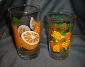 Two Vintage Florida Citrus Juice Glasses