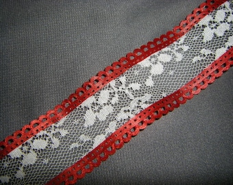 Two Yards Vintage Red Satin and White Lace Trim Ribbon by Lion Ribbon Company