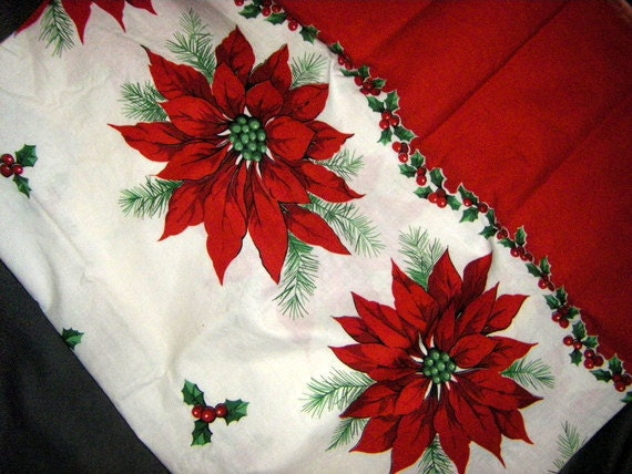 Poinsettia and Holly Christmas Vintage Cotton Fabric