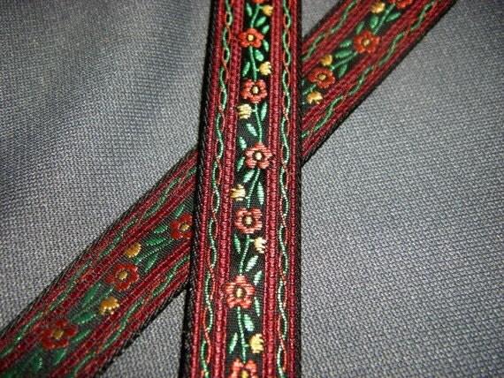 Vintage Red Floral Embroidered Ribbon 2 yards