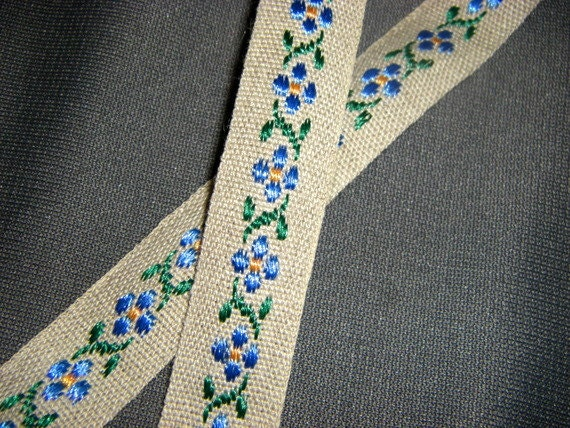 Vintage Blue Floral Embroidered Ribbon 2 yards