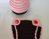 SALE 6-12 Months Cupcake Hat and Diaper Cover Gift Set, Photography Prop in Pink and Chocolate