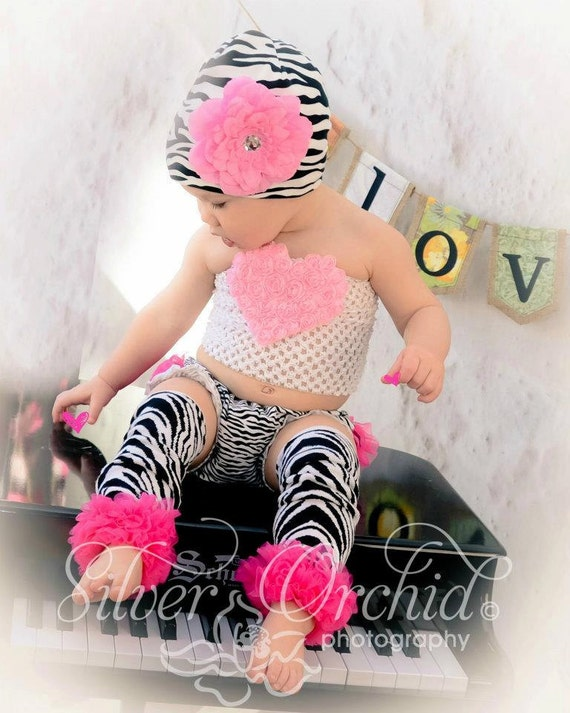Zebra hat with pink dahlia...baby toddler hat