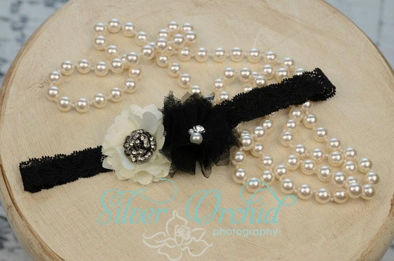 Vintage couture inspired chic flower headband in black and ivory..Perfect for the fall
