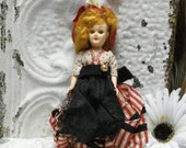 "7"" Doll France Red And Black Dress Soft Red Mohair"