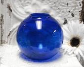 "4 1/4"" Cobalt Blue Glass Rose Bowl Vase Round"