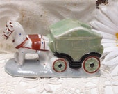 Small Lusterware Ashtray Horse Carriage