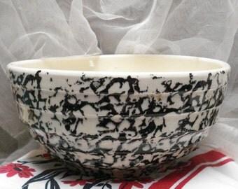Crock Bowl Black Spongeware Mixing 9 inch