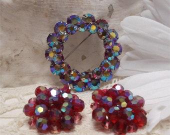 """2"""" Red Aurora Borealis Brooch Earrings Vintage"""