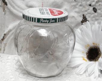 Vintage  Apple Embossed Glass Jar Figural