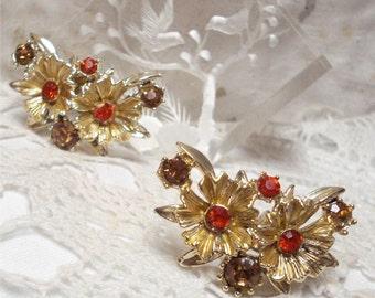 """1 1/2"""" Orange Rhinestone Clip Earrings Floral"""