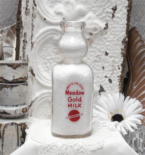 Quart Meadow Gold Dairy Cream Top Milk Bottle