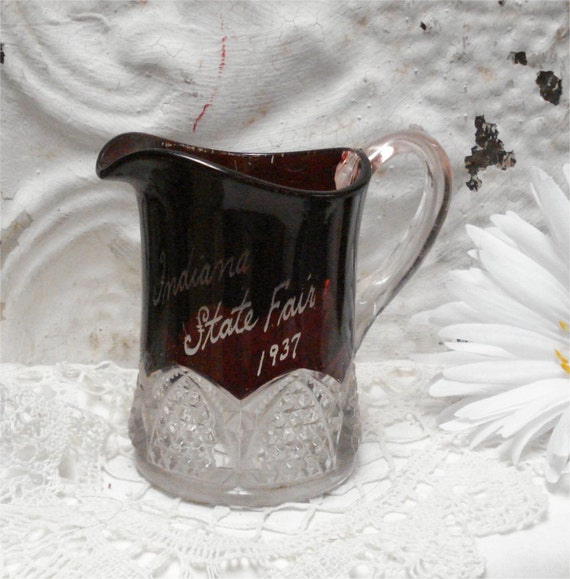 Indiana State Fair 1937 Red Ruby Flash Pitcher Souvenir