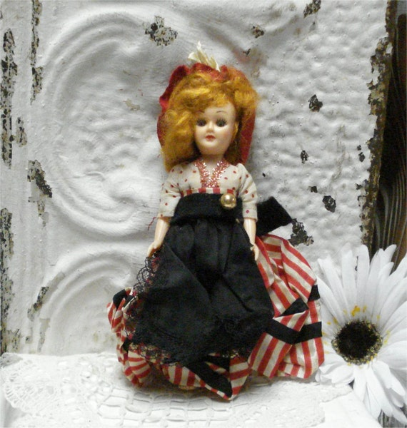 """7"""" Doll France Red And Black Dress Soft Red Mohair"""