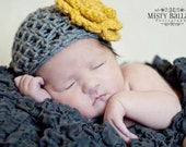 Newborn Beanie with Giant Blossom, Sizes Preemie-3mo available