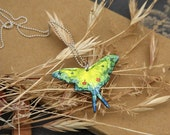 Flying Luna Moth, Butterfly, Insect Sterling Silver Pendant and Chain