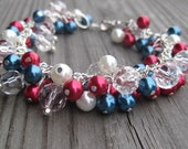 Red, White & Blue Fireworks Beaded Bracelet