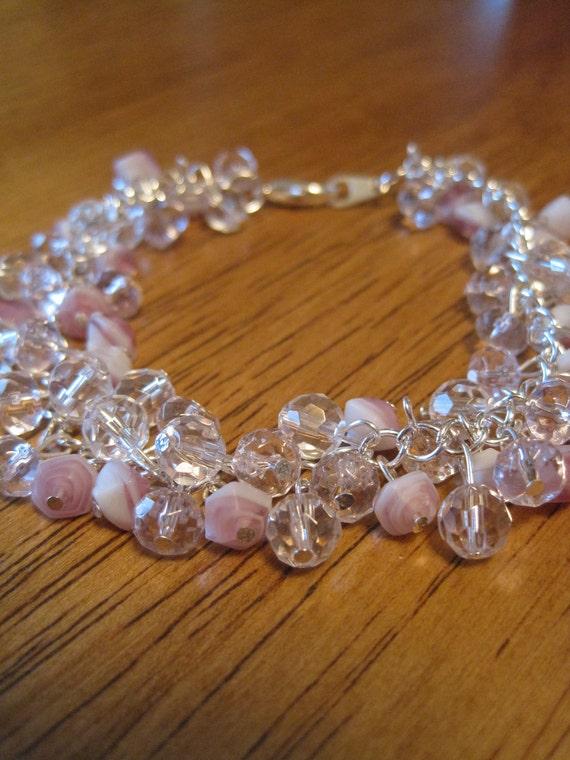 Pink & Crystal Beaded Bracelet