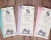 Custom Digital Vintage Alice In Wonderland Invitation Ready to print
