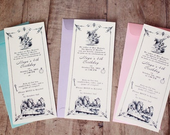 Custom Digital Vintage Alice In Wonderland Invitation Ready to print