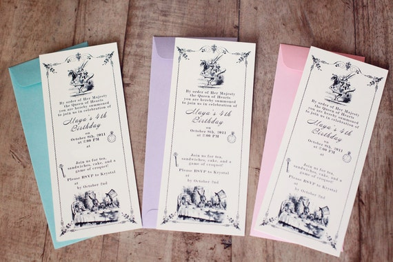 80 Vintage Alice In Wonderland Invitations (reserved)