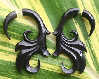 SUMITRA Fake Gauge Earrings - Organic Black Horn - Hand Carved Body Art