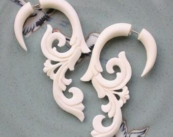 HANYA Floral Curls - Hand Carved Fake Gauge Earrings - Natural White Bone