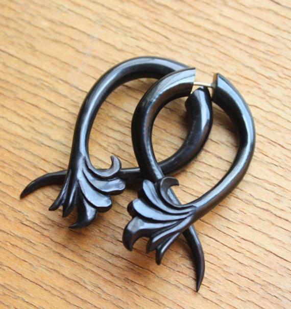 RUA Earrings - Fake Gauges - Hand Carved Natural Black Horn - Organic Tribal Jewelry