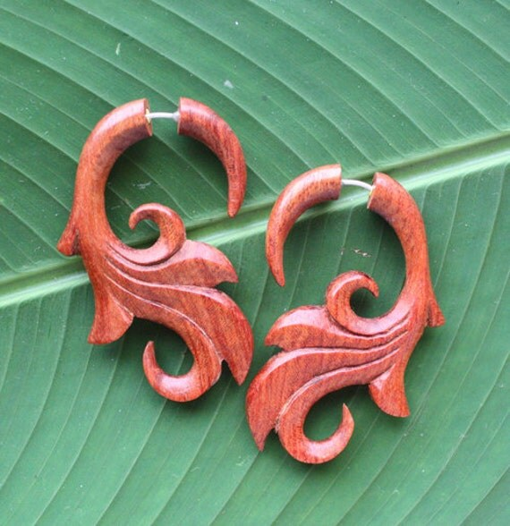 Red Fake Gauge Earrings -  SUMITRA - Organic Blood Wood - Hand Carved Body Art