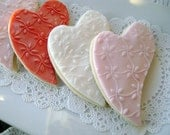 Heart Sugar Cookies Embossed Flowers in Red, Pink and White 12 Cookies -Valentine's Day