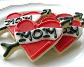 Mom Tattoo Heart Cookies - 6 Cookies - Mother's Day Cookies