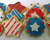 Memorial Day Sugar Cookies - 4th of July - Stars and Stripes - Mini Bites - pfconfections