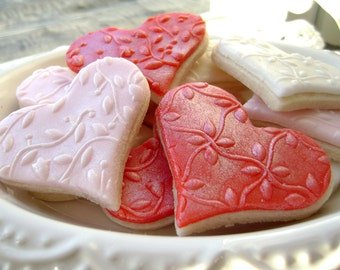 Heart Sugar Cookies Embossed Flowers in Red, Pink and White - Valentine's Day