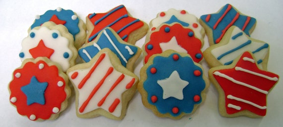 Memorial Day Sugar Cookies - 4th of July - Stars and Stripes - Mini Bites