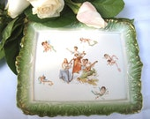Antique English Platter with Cherubs Green and Gold Ornate Edge 1896-1912 Empire Works Stoke on Trent