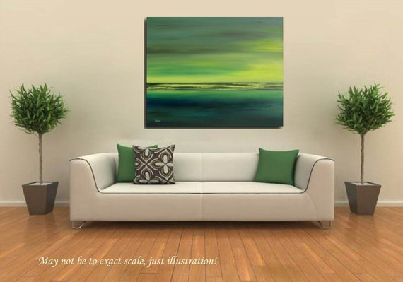 "Abstract landscape oil painting - emerald green, lime green, royal green, yellow - Green Fields - 31,5"" x 39,4"""