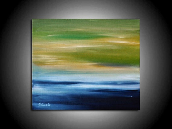 "Seascape - Original unique contemporary abstract landscape oil painting - blue, green, grey - Christmas gift idea - 9,8"" x 11,8"""