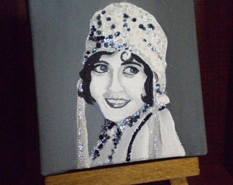 1920's Flapper Girl Miniature Painting