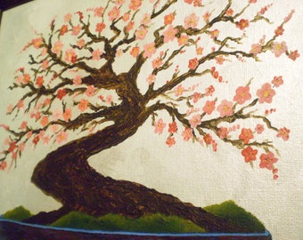 SALE  Serenity Plum Tree in Hand Painted Frame