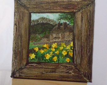 Miniature Painting - English Cottage in the country with daffodils
