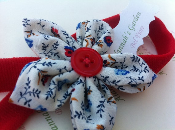 Flower Headband, Cream, Red and Blue Floral Fabric Flower
