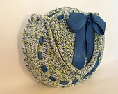 Crocheted handbag / purse / cream blue & green