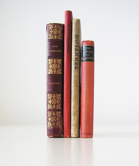4 Vintage Books - 1890, 1900, classics, library collection, Tennyson, Drinkwater, Goldsmith, red, burgundy, gold, beige, librarian chic