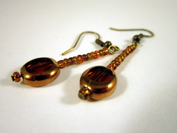 Dangle Earrings on Antique Brass Earwires - Copper and Amber